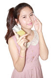 Beautiful girl cleansing cotton tissue pad Stock Image