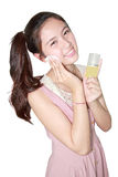 Beautiful girl cleansing cotton tissue pad Stock Photo