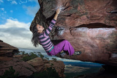 Beautiful girl climbing Royalty Free Stock Photos