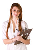 Beautiful Girl With a Clipboard Royalty Free Stock Images