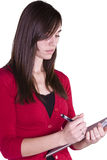 Beautiful Girl With a Clipboard Stock Photo