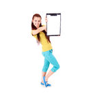 Beautiful girl with a clipboard isolated on white Royalty Free Stock Image