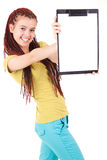 Beautiful girl with a clipboard isolated on white Royalty Free Stock Photography