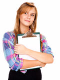 Beautiful girl with a clipboard Royalty Free Stock Photo