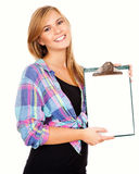 Beautiful girl with a clipboard Stock Image
