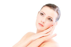 Beautiful girl close up with bared shoulders Royalty Free Stock Images