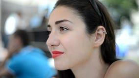 Beautiful girl close-up stock footage