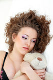 Beautiful girl close up relaxing Royalty Free Stock Photo