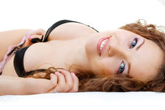 Beautiful girl close up relaxing and smiling Royalty Free Stock Photo
