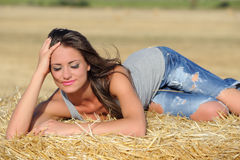 Beautiful girl with closed eyes Stock Images