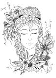 Beautiful girl with closed eyes. Hand drowed. zentangle. black and white stock illustration