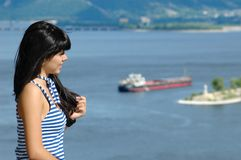 The beautiful girl on coast Royalty Free Stock Images