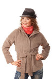 Beautiful girl in a coat and hat Royalty Free Stock Image