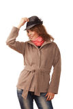Beautiful girl in a coat and hat Stock Image