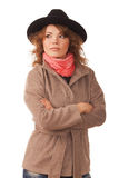 Beautiful girl in a coat and hat Stock Photography