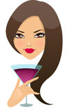 Beautiful girl with cocktail in a glass. Vector illustration Stock Photos