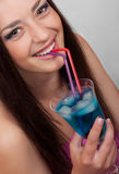 Beautiful girl with a cocktail Royalty Free Stock Images
