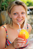 Beautiful girl with coctail Royalty Free Stock Photos