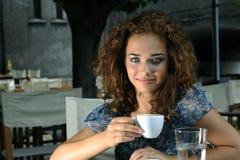 Beautiful girl with coffee Stock Image