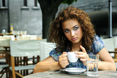 Beautiful girl with coffee Stock Photos