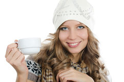 Beautiful girl with a coffee cup Stock Photos