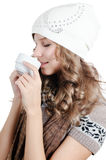 Beautiful girl with a coffee cup Royalty Free Stock Photography