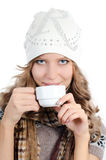 Beautiful girl with a coffee cup Stock Images
