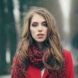 Beautiful girl on cold windy day. Portrait of a beautiful girl on cold windy day Stock Photos