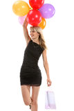 Beautiful girl with color balloons Royalty Free Stock Photos