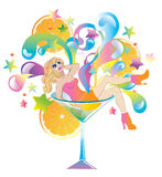 Beautiful girl in color Martini glass. Isolated on white Stock Photo