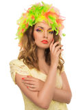 Beautiful  girl in a color wig and beautiful Up Make Up Royalty Free Stock Image