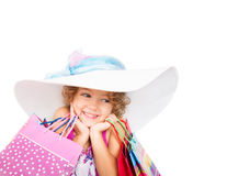 Beautiful  girl with colored bags Stock Images
