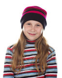 Beautiful girl in colored striped hat and sweater Stock Images