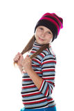 Beautiful girl in colored striped hat and sweater Stock Photo