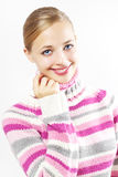 Beautiful girl in colored sweater Royalty Free Stock Images