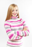 Beautiful girl in colored sweater Royalty Free Stock Image