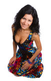 Beautiful girl in colorful dress royalty free stock photography