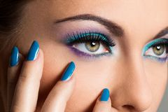 Beautiful girl with colorful makeup Royalty Free Stock Image