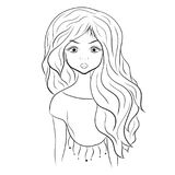 Beautiful girl, coloring picture. Portrait Stock Image