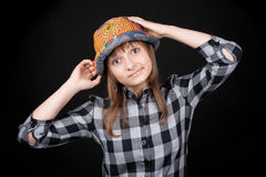 Beautiful girl in colour hat Royalty Free Stock Images