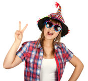 Beautiful girl in colour hat and sunglasseses Royalty Free Stock Images