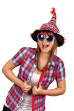 Beautiful girl in colour hat and sunglasseses Royalty Free Stock Photos
