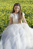 Beautiful girl with communion dress Royalty Free Stock Photography