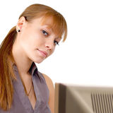 Beautiful girl at the computer. Royalty Free Stock Image