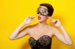 Beautiful girl in a concert suit and sunglasses Stock Photo