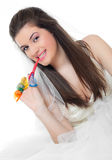 Beautiful girl and condoms Royalty Free Stock Image