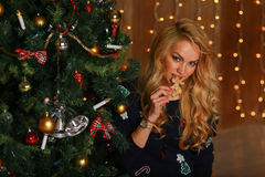 Beautiful girl with cookies hands sits near a Christmas tree. Stock Photo