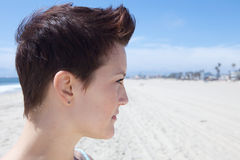Beautiful Girl with a cool haircut. Profile of Beautiful Girl with a cool haircut Royalty Free Stock Photo
