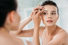 Beautiful girl correcting eyebrows with tweezers and looking at mirror. In bathroom stock images