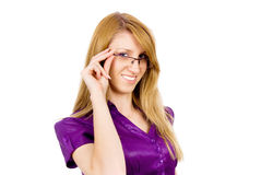 Beautiful girl corrects glasses Royalty Free Stock Photo